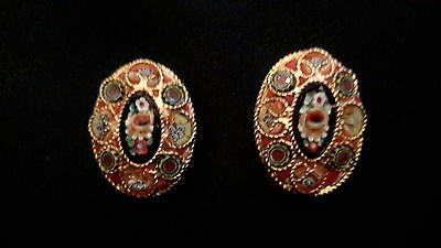 Vintage Clip On Italian Floral Victorian Style Micro Mosaic Earrings