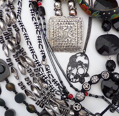 Job Lot Vintage Style Jewellery Collection Black Necklaces 14 Items