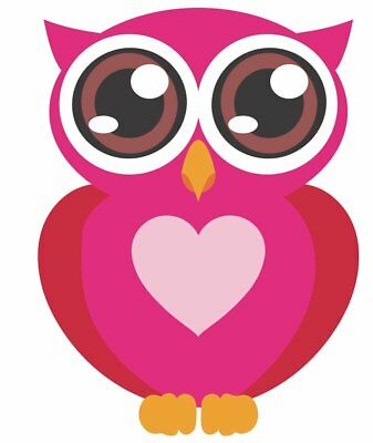 Big Eyes Pink Owl Movable Wall Stickers