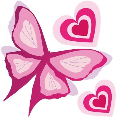 Pink Butterfly Movable Wall Stickers