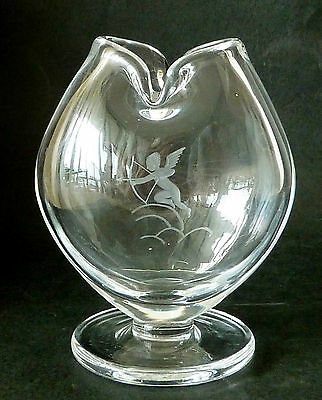 VINTAGE 1980s Kosta Boda heavy 910g Crystal CUPID vase etched mark& # modernist