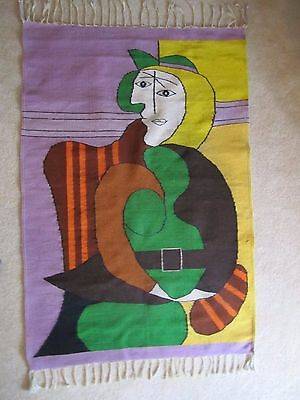 """Vtg RARE Pablo Picasso """"THE RED ARMCHAIR"""" Wool Hand Woven Rug Wall Hanging"""