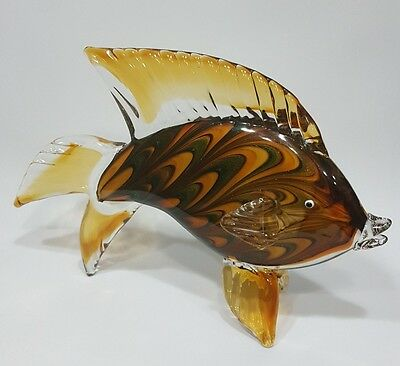 Fish Art Glass Sculpture Figurine Statue Ornate Coastal Sea Home Decor New Large
