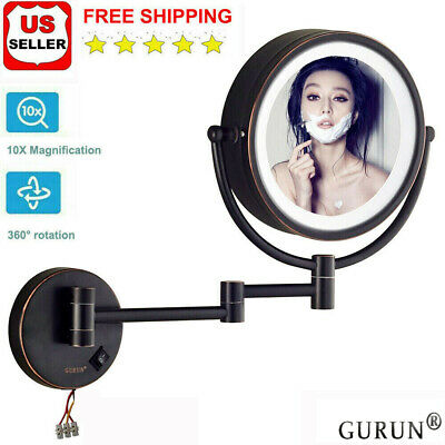 GURUN 10X Magnifying led Lighted Makeup Mirror Wall Mount Hardwired Oil Bronze