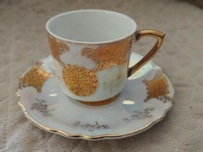 mini tea cup and saucer hand painted in Japan- lusterwear and gold