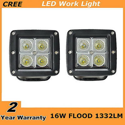 2X 3INCH 16W Square Cube Flood beam  LED Work Light Bumper OffRoad 24W Cree wu