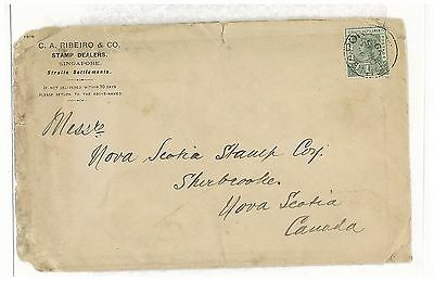 STRAITS SETTLEMENTS SINGAPORE 1899 QV SURFACE MAIL TO CANADA FROM C.A.RIBEIRO&Co