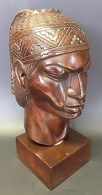 INCA WARRIOR By Artist A. Saravia Signed Peru Mahogany Wood Carving Statue 1960s