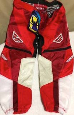 New Fly Racing Youth Motocross Dirt Bike White Red Pants Size 28s 805 RN 104096