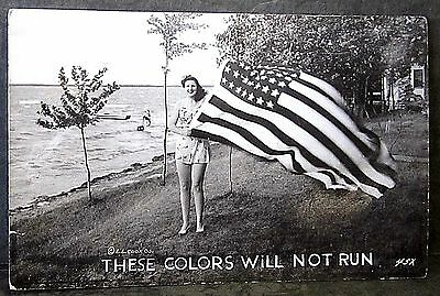 "Vntg Wwii Rppc Photo Postcard, Patriot Flag Pin-Up ""these Colors Will Not Fade"""
