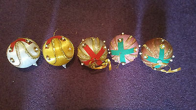 Vintage Christmas Decorations - Woven Cotton - Handmade - 1970's - Set of 49 + 8
