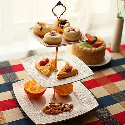 5X3 Tiers Crown Top Cake Plate Serving Stand Handle Fruit Food Fitting Holder