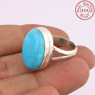 Solid 925 Sterling Silver Natural Turquoise Ring Jewellery US S 8 AM-112