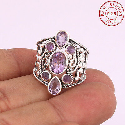 Solid 925 Sterling Silver Natural Amethyst Ring Jewellery US S 6.75 AM-111