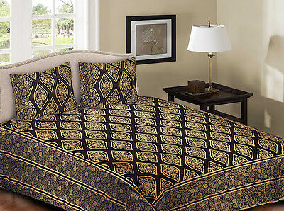 Bedspread King Size 100% Cotton Bed Spread With 2 Pillow Cover Printed Bedding 8