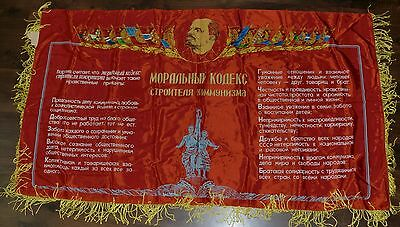 Flag Banner Lenin Propaganda Moral Code of the Builder of Communism USSR
