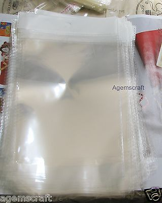 15 Clear 26x15.5cm Self Adhesive resealable Cello Plastic Bags with hang tab new