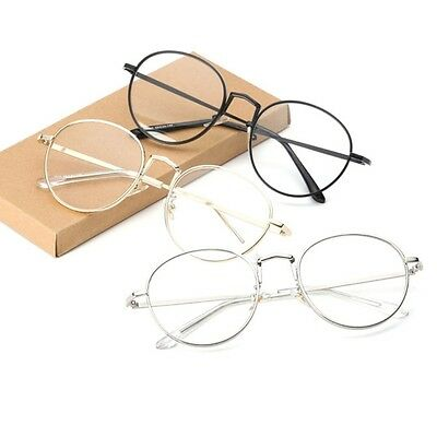 ad476cfbb1d Vintage Oval Metal Clear Lens Glasses Women Men Artistic Frame Plain Eyewear