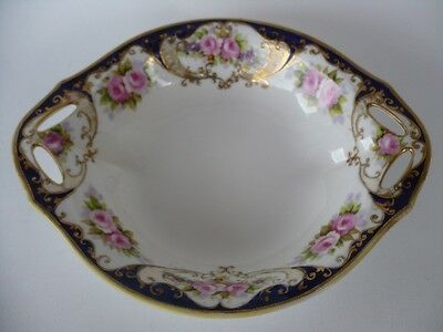 Antique Noritake Hand Painted Roses & Gold Overlay Bowl