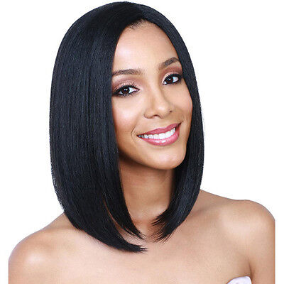 Women Ladies Bob Wig Short Straight Black Hair Natural Black Human Hair Perücke