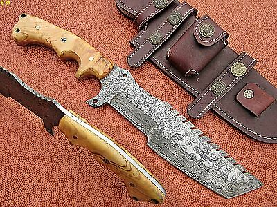 Custom Hand Made Damascus steel Hunting Tracker Knife With Olive Wood Handle.