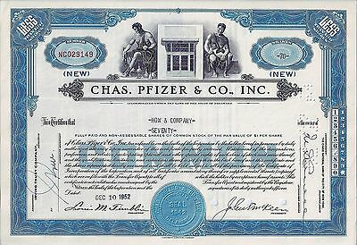 Chas. Pfizer & Co. Inc., Delaware, 1952 - die Pharma-Aktie (70 Shares New)