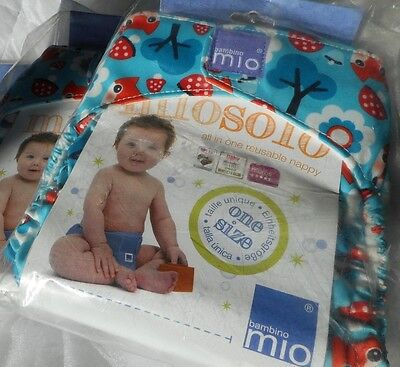 3 Baby's Bambino Mio Reusable Miosolo All In One Nappy Onesize Woodland Fox Bnib