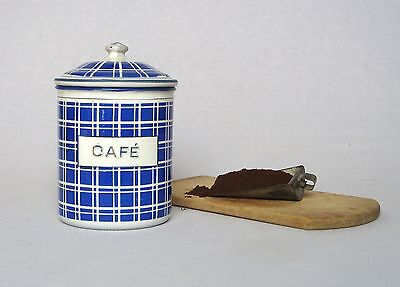 Very Attractive VINTAGE FRENCH ENAMELWARE COFFEE CANISTER