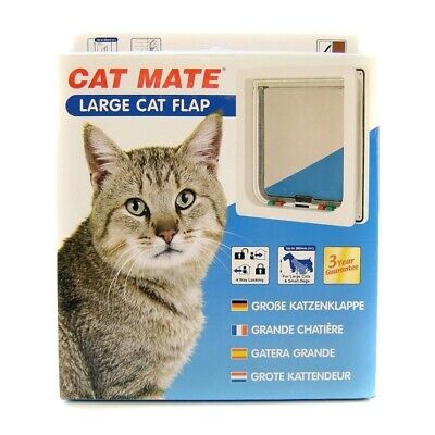 Cat Mate Large Flap Cat Door with 4-Way Lock - Available in White and Brown