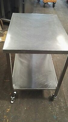 Stainless Steel Commercial Catering Prep Table Work Top Bench On Wheels.