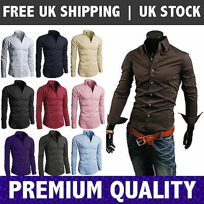 Mens Long Sleeve Shirt Business Work Smart Formal Casual Dress Shirt LMGarments