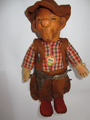 Old STEIFF COWBOY BOY Puppe 17 cm #117 vintage puppet tag IDs doll figure rare