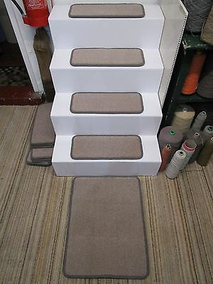 14 Handmade grey mushroom stair pads treads plus mat 80/20 British wool
