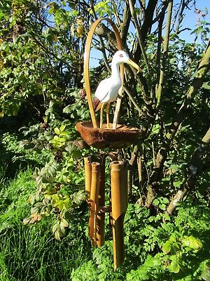 Hand Carved Made Large Bamboo Coconut Seagull Bird Windchime Wind Chime Mobile