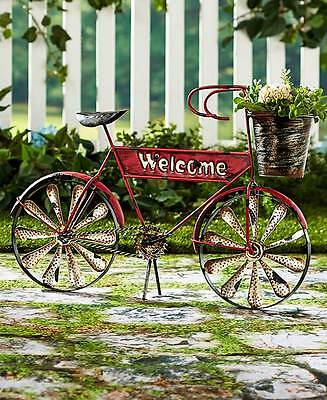 Vintage Style Welcome Bicycle Flower Planter Rustic Finish Patio Yard Garden