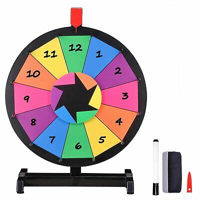 """WinSpin 15"""" Tabletop Editable Color Prize Wheel 12 Slot Spinning Game with Dry E"""