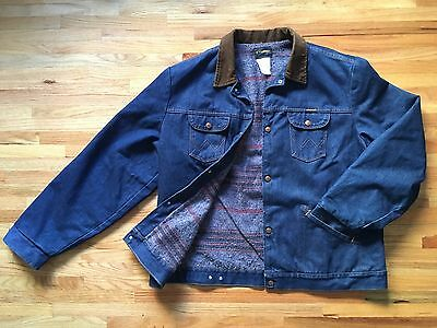 Vintage Wrangler Jean Jacket Quilt Lining 50 Large Corduroy Made In USA