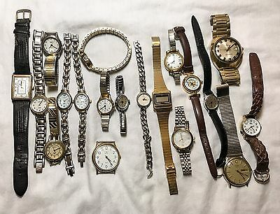 Lot Of 19 Timex Watches Men's Women's Vintage Indiglo Carriage