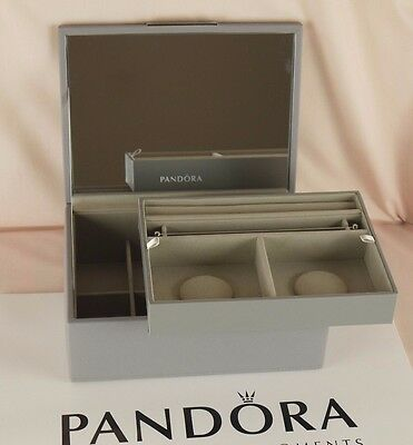 Pandora 2 Tray Dove Grey Colour Medium Size Jewellery Box with Gift Bag New