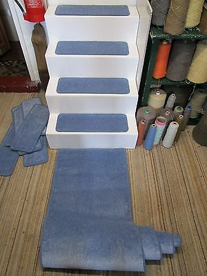 14 handmade blue stair pads treads plus hall runner 60x227cm WORLDS SOFTEST YARN