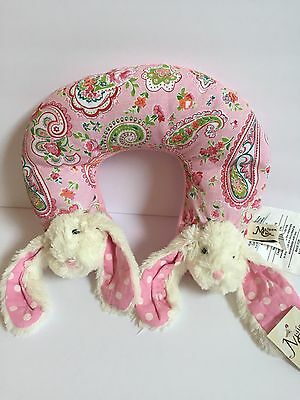 Maison Chic Bunny Travel Pillow Baby Child Infant Neck Head Support Pink NWT