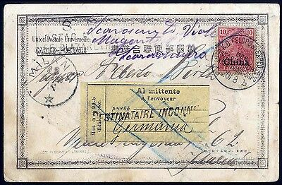 Dt. Post China Mi.Nr. 17 Auslands-Feldpostkarte nach Italien (4237/27)