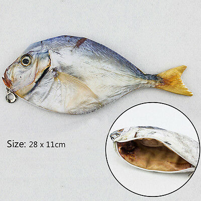 Zipper Pen Make-up Pouch Fat Salted fish Real Fish-like Pencil Case Funny Rare