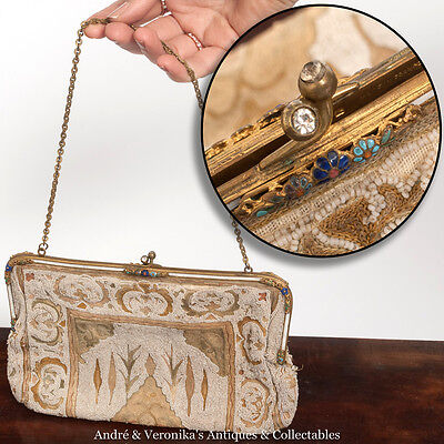 Antique FRENCH Cloisonne CLUTCH HANDBAG Seed Beaded Victorian Vintage Art Deco