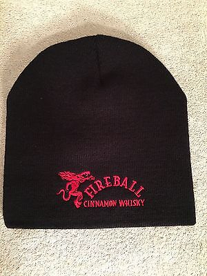 Fireball Whisky Black Microfiber Beanie Skull Cap NEW