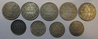 1876-1914 - Germany - Lot of 9 Genuine Silver Coins