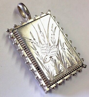 "Antique Victorian Large Silver Engraved Bird Picture Locket "" Swallow """