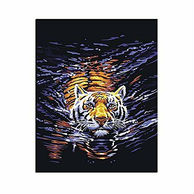 FENGTUO- Water Tiger Canvas Diy Oil Painting by Number Kit 16*20 inches (