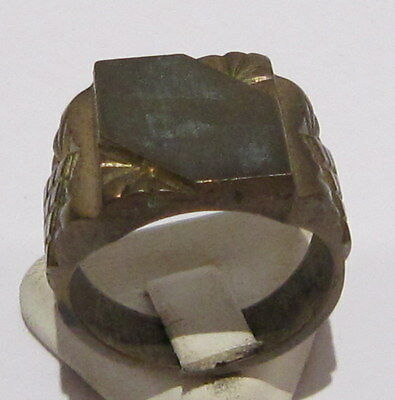 AMAZING BRASS MEN'S RING FROM THE EARLY 20 th c.WITH ENGRAVINGS # 18B