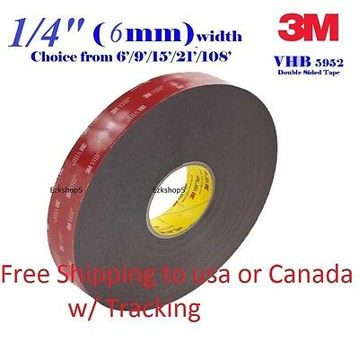 """3M 1/4"""" x 9/15/21/108 VHB Double Sided Foam Adhesive Tape 5952 Gopro Action Can"""